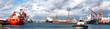 Hafenpanorama mit Schlepper - 78957832