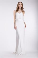 Elegance. Beautiful Bride in Sleeveless Dress