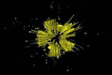 Yellow Splatter on Black Background  V1 - 20x30
