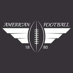 American football or rugby ball with wings, sport logo