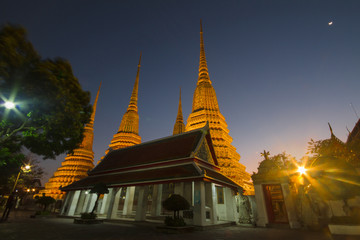 Wat Pho  beauty architecture in twilight