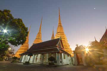 Wat Pho  beauty architecture in twilight