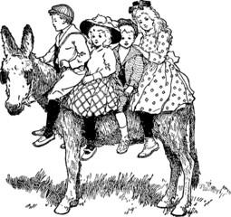 Vintage Illustration donkey children