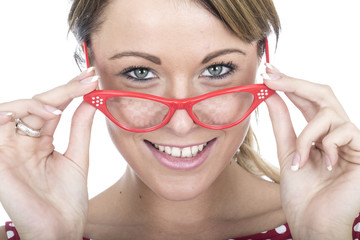 Young Woman Wearing Red Framed Glasses
