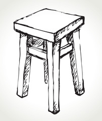 Wooden kitchen stool. Vector sketch