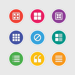 Icons in material design style vector sign and symbols