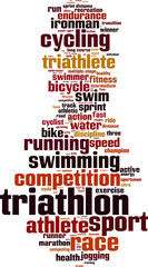 Triathlon word cloud concept. Vector illustration