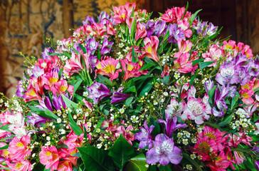 Big multicolor  alstroemeria  flowers bouquet