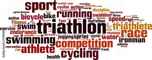 Fototapeta Triathlon word cloud concept. Vector illustration