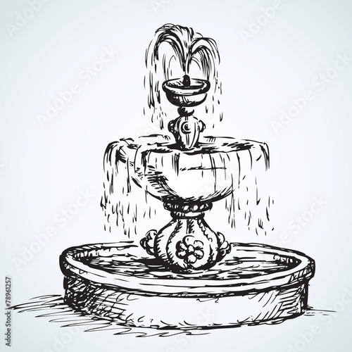 Old fountain. Vector drawing - 78961257