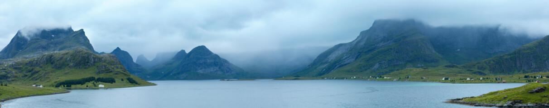 Summer cloudy panorama (Norway, Lofoten).