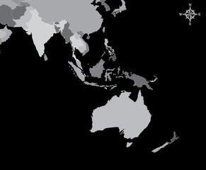 Australia Map - Vector Map of Australia with north arrow