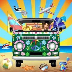 Hippie Groovy Van Traveling to the Beach