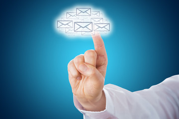 Finger Touching Email Icons Shaping A Cloud Symbol