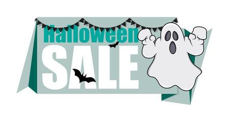 Halloween Ghost Banner Vector