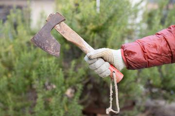 古びた斧を持った手