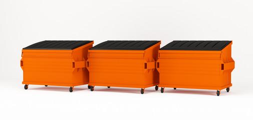 Realistic orange trash boxes.