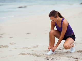 Lacing up before running