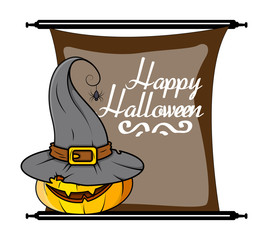 Halloween Pumpkin Witch Hat Vector