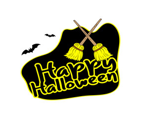 Halloween Banner with Broom Vector