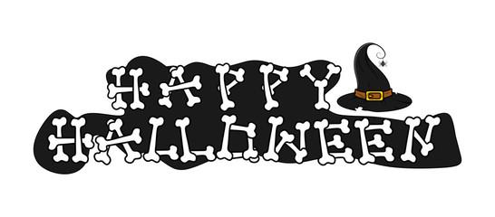 Happy Halloween Bones Text Banner