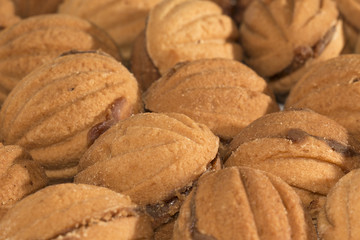 """Cookies """"nuts"""" stuffed with boiled condensed milk"""