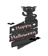 Happy Halloween Cat Vector Graphic