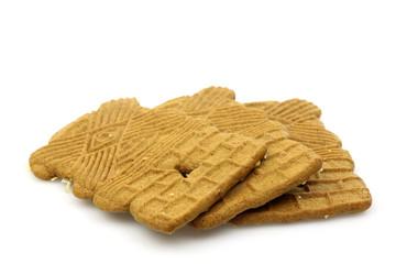 Speculaas cookies (typical Dutch Sinterklaas biscuit)  on a whit