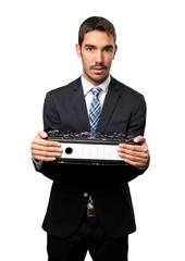 Sad businessman holding files