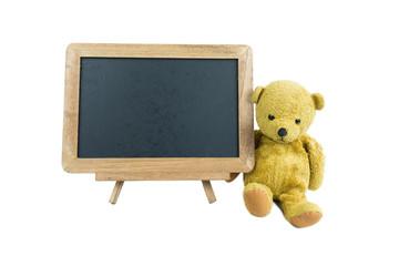熊の縫い包みと黒板