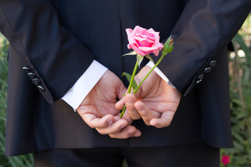 Hands and pink flower