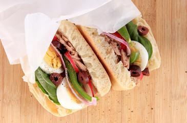 Tuna nicoise sandwich, also known as pan bagnat