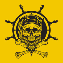 Illustration of a pirate skull.