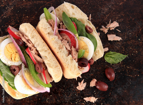 Foto op Aluminium Snack Tuna nicoise sandwich, also known as pan bagnat