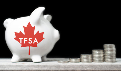 Canadian Tax-Free Savings Account concept with a piggy bank agai