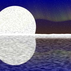 Illustration of big moon, aurora on nigh sky and snowy horizon
