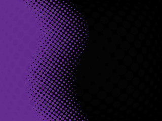 Abstract halftone purple wave with black background