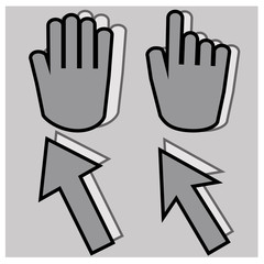 Gray hand cursors icons and labels with white shadow