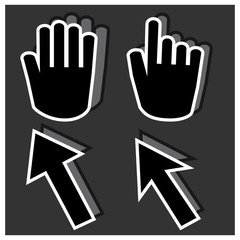 Black hand cursors icons and labels with shadow