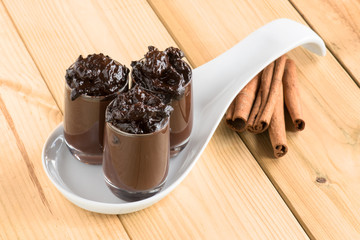 chocolate pudding over a wooden table