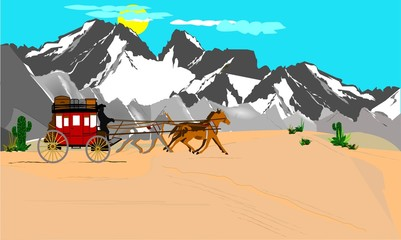 stagecoach in the open wild west