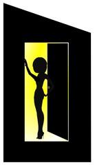 lady in doorway concept