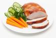 Leinwandbild Motiv Putenbrust-Braten mit frischem Gemüse