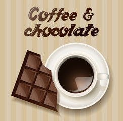 cup of coffee and a chocolate