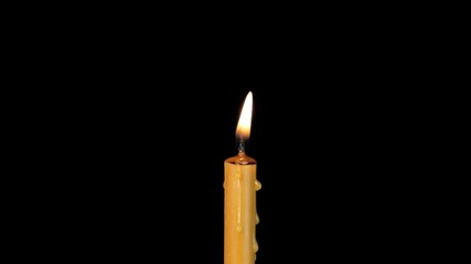 One candle wax burning. With alpha channel.