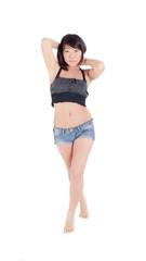 Slim girl in shorts