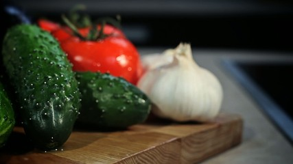 Still life of vegetables in the kitchen interior