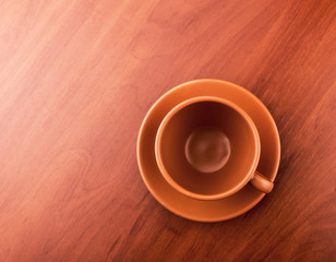 Empty cup of tea on the table