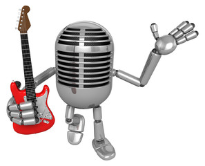 3D Classic Microphone is holding electric guitar. 3D Classic Mic