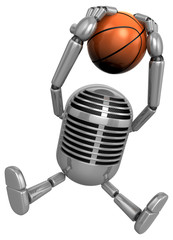 3D Classic Microphone a dunks with both hands. 3D Classic Microp